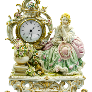 CLOCK w/ LADY ON BENCH