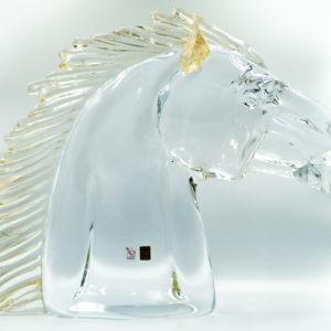 CLEAR GLASS CLASSIC HORSE HEAD w/ GOLD DETAIL