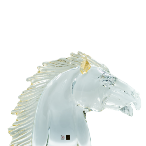CLEAR GLASS CLASSIC HORSE HEAD w/ GOLD DETAIL