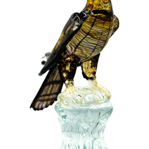 FALCON w/ CLOSED WINGS ON CRYSTAL BASE