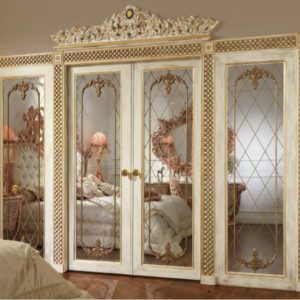 Aida Collection Gold Bedroom Double door with mirror