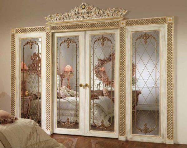 Aida Collection Gold Bedroom Double Door With Mirror