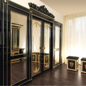 Aida Collection Gold and Black Double door with mirror