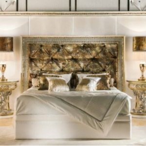 Cappelletti Tribute White Gold Bedroom Set