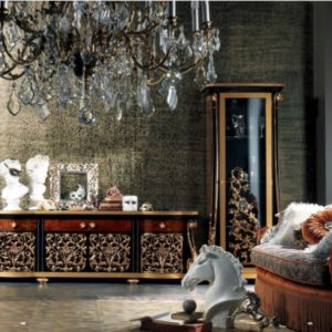 Coco Briarwood Black and Gold TV Cabinet and One Door Showcase