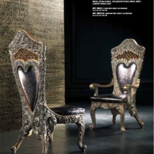 Experience Collection Gold and White Pearl Dining Chairs