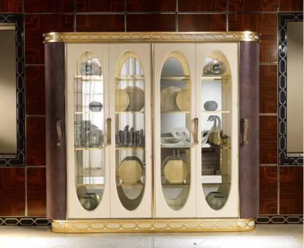 Lilium Collection Gold And Brown Dining Room Showcase With Four Glass Doors