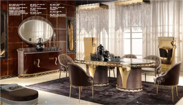 Lilium Collection Gold And Brown Dining Set