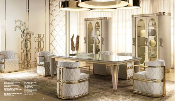 Lilium Collection Gold And White Dining Set
