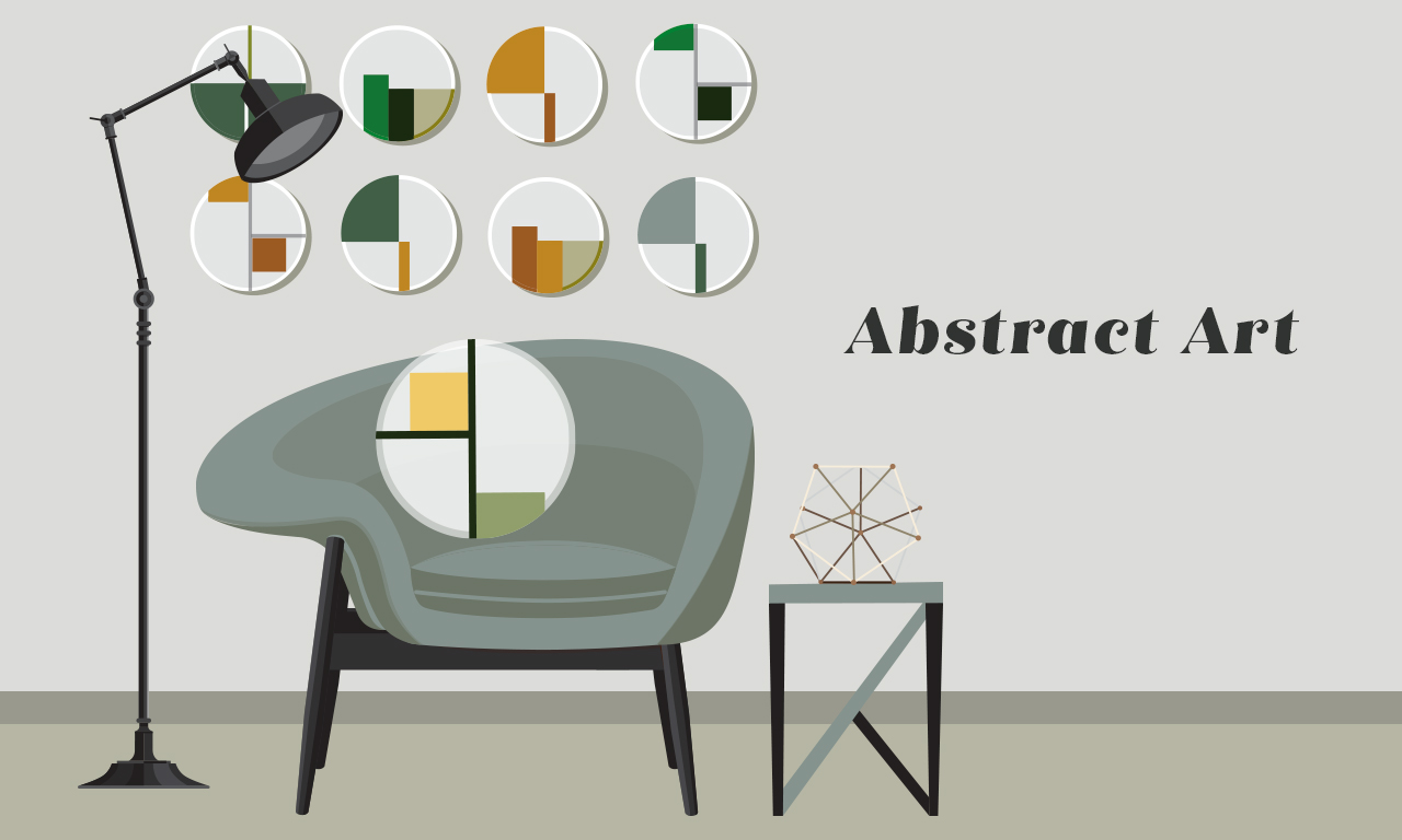 Graphic of an abstract chair with a lamp, table, and ornaments behind it