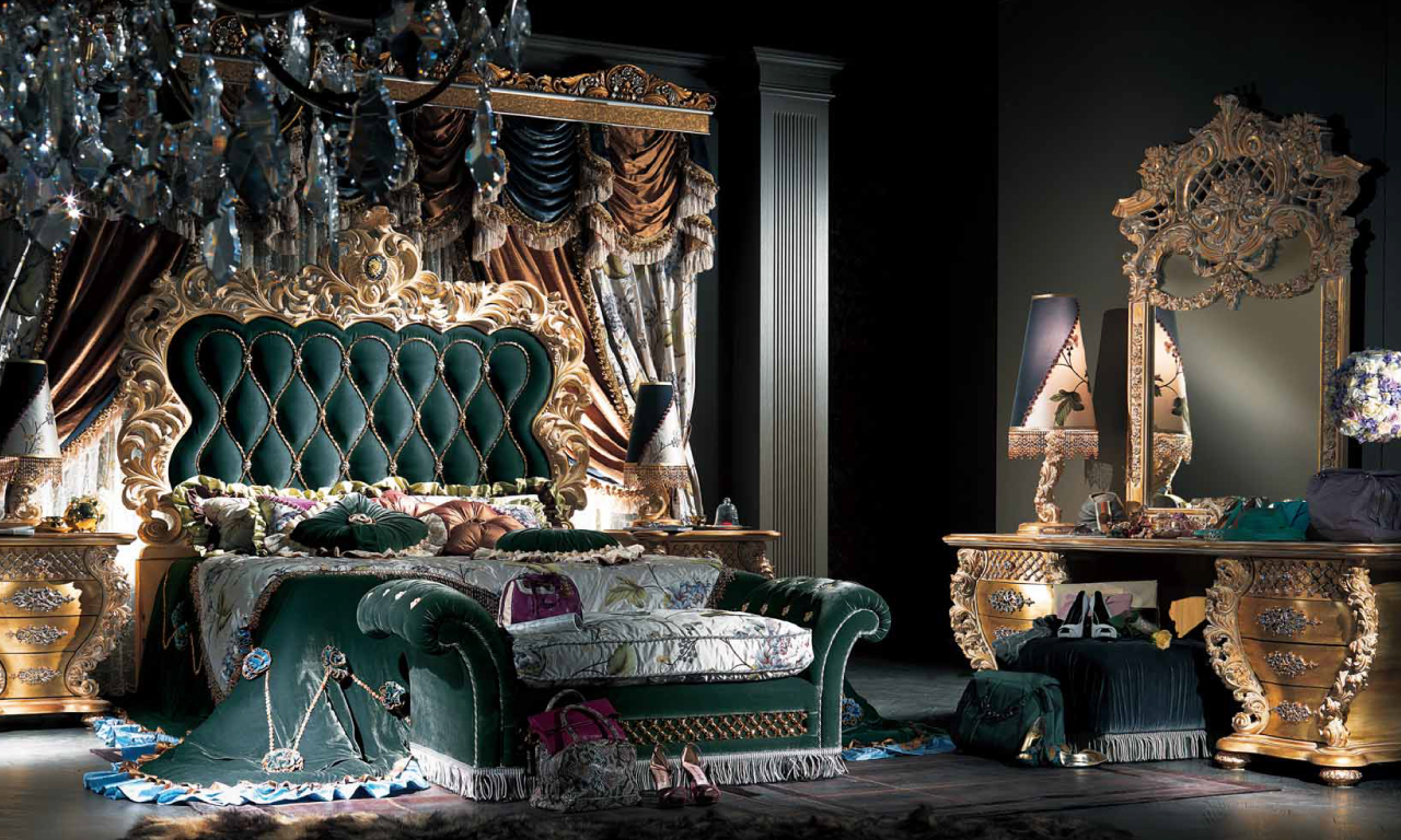 A green and gold bedroom set from the Experience Collection of Muebles Italiano