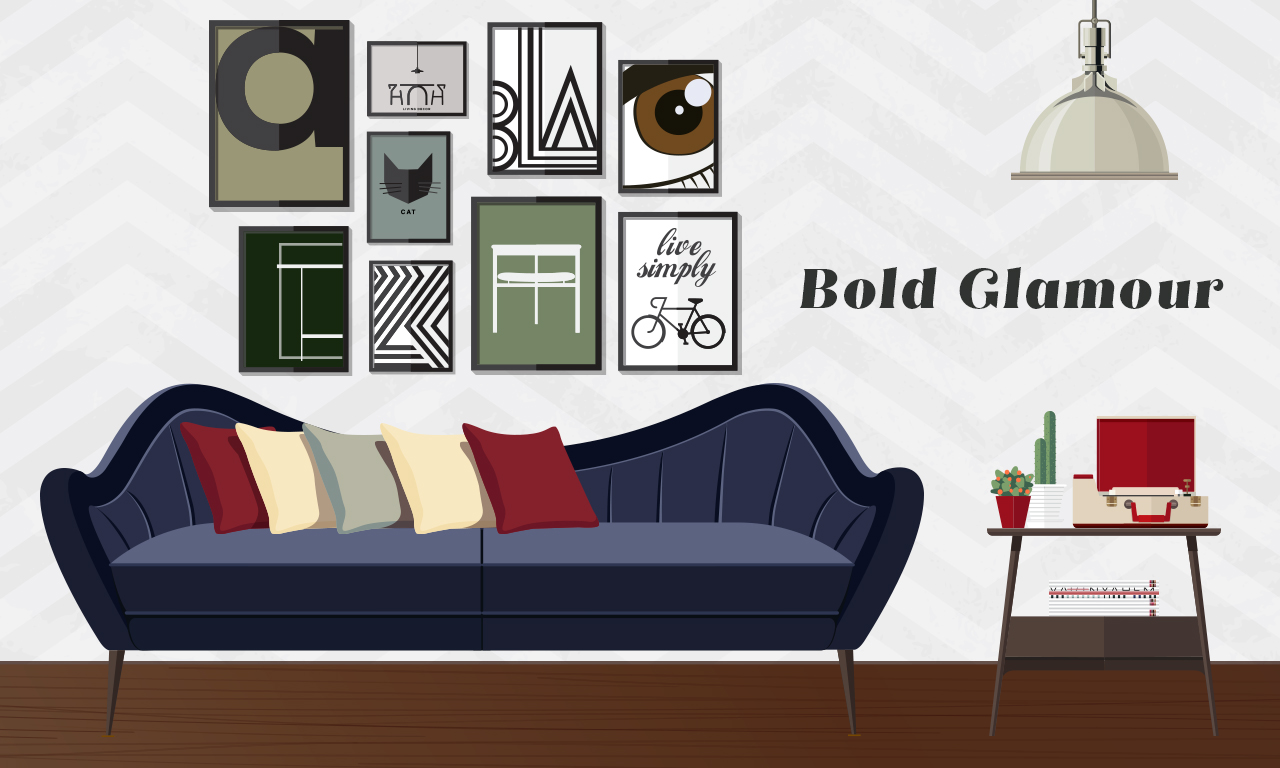 Graphics of a couch with a bold glamour design