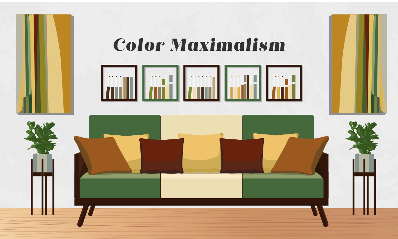 Graphics of a sofa designed with color maximalism