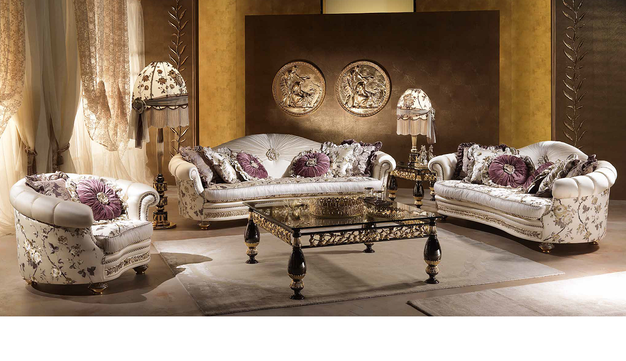A wide shot of a living room set made up of Aida Collection furniture
