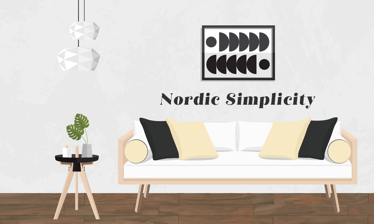 Graphics of a nordic simplicity designed couch