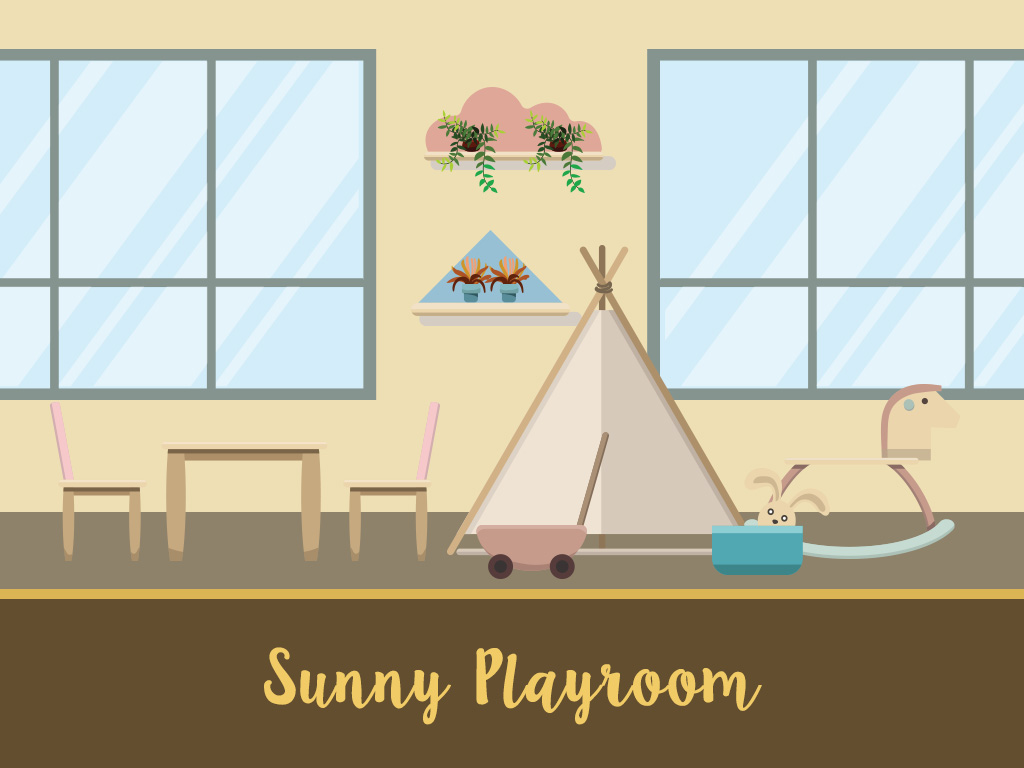 a playroom witha tent, toys, a table, windows, and plants on the wall