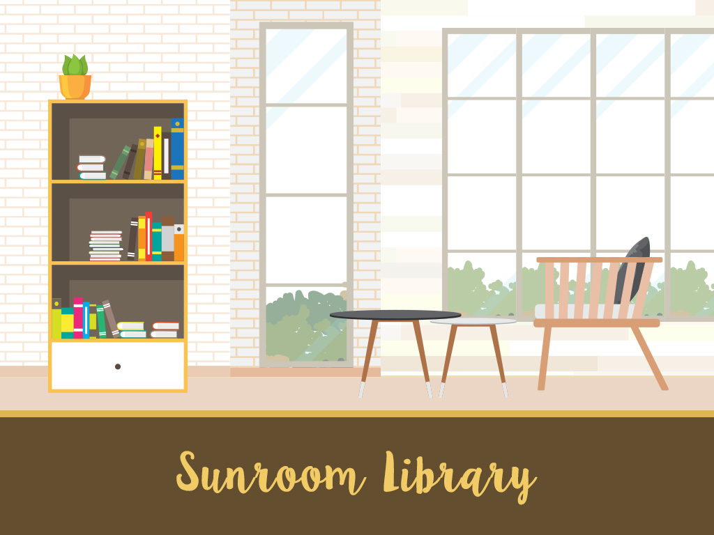 sunroom library with a bookshelf and tables and chairs