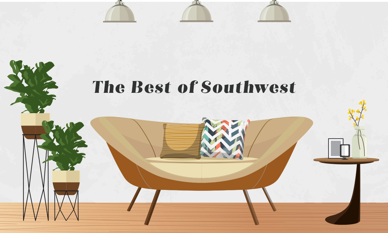 Graphics of a couch of a southwest design