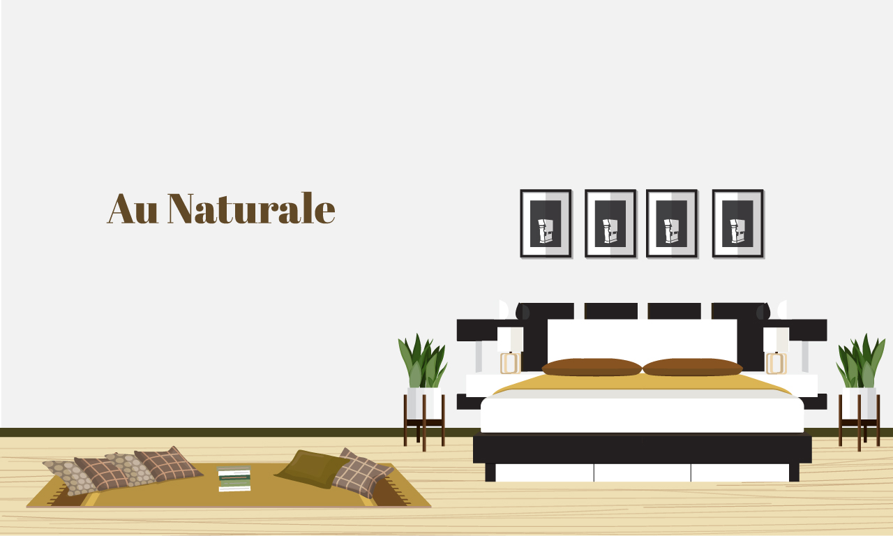 Graphics of a bedroom in earth tones