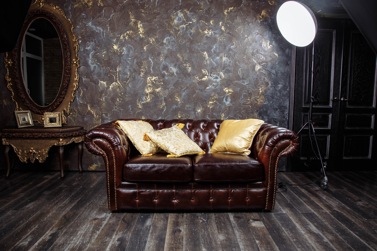 Dark brown vintage living room sofa