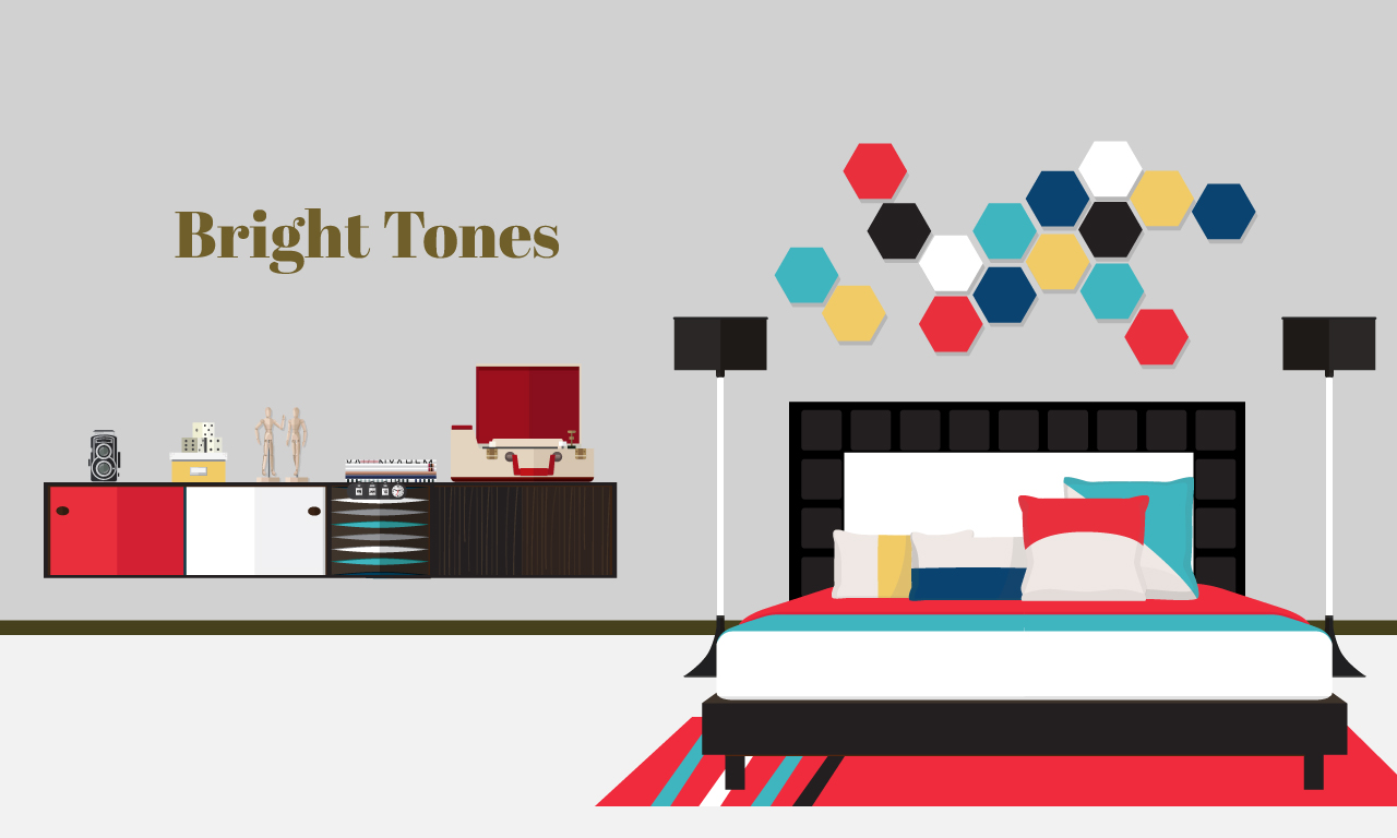 Graphics of a bed and room design with bright tones