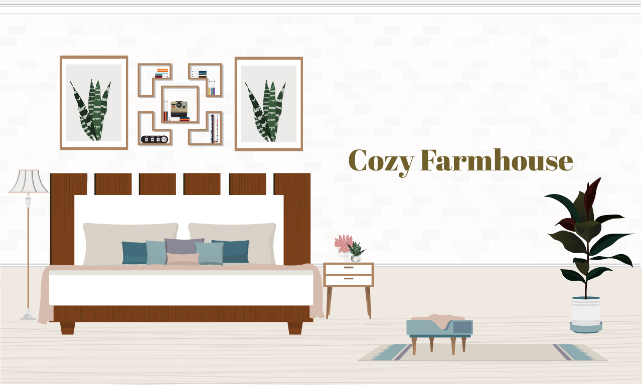 Graphic of a bed in a farmhouse style