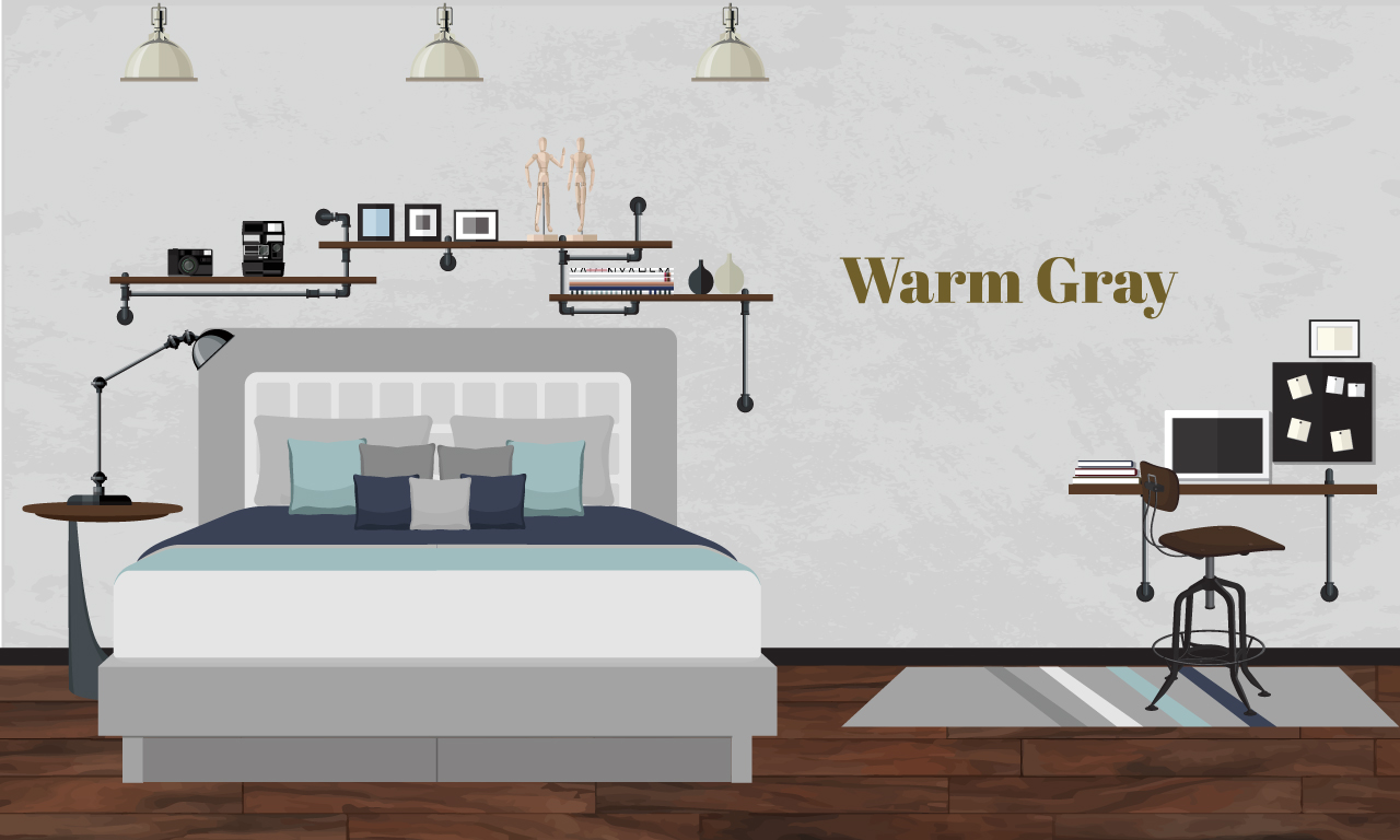 Graphics of a bedroom with warm gray colors