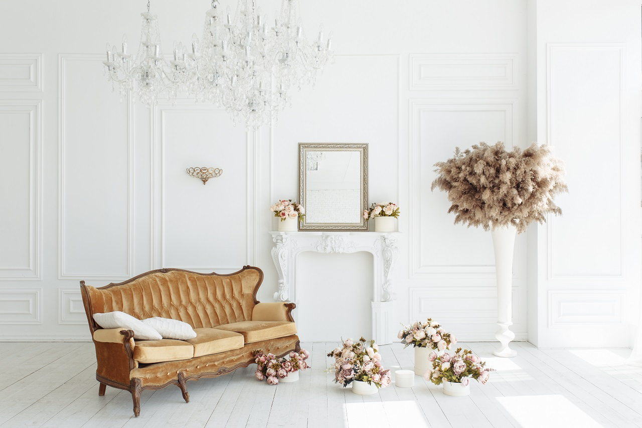 A white living room with Italian furniture